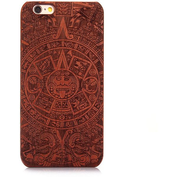 Carved Pattern Wooden Shockproof Protective Back Case for iPhone 6... ❤ liked on Polyvore featuring accessories and tech accessories