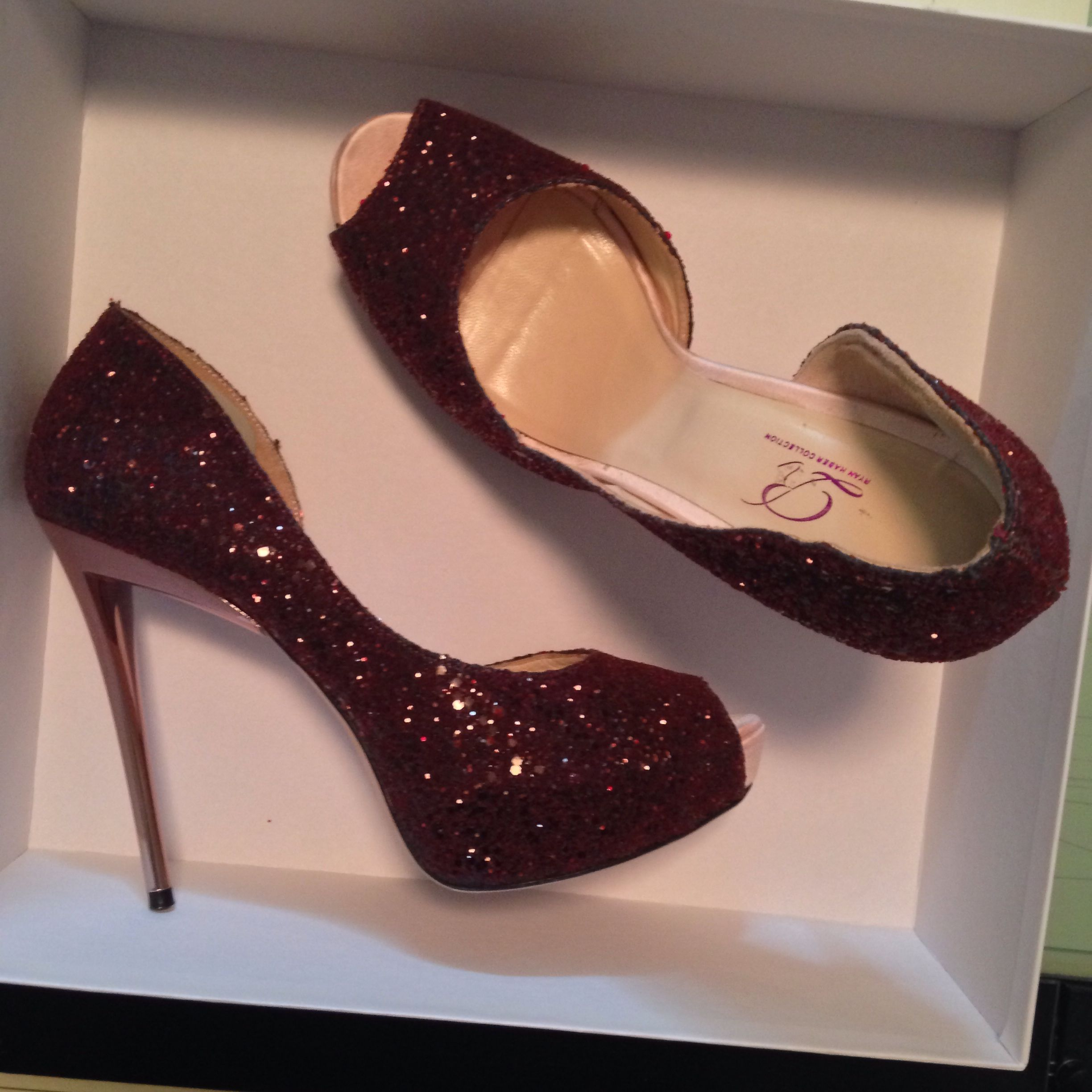 These oxblood glitter samples are for sale! Only $295! ONE SIZE left (size 38)