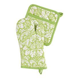100% Cotton oven mitt and potholder set with damask design.  Product: Oven mitt and potholderConstruction Material: 100% CottonColor: Cucumber melonDimensions: Oven mitt: 12 H x 6.5 W Pot holder: 8.5 H x 8 WCleaning and Care: Machine washable