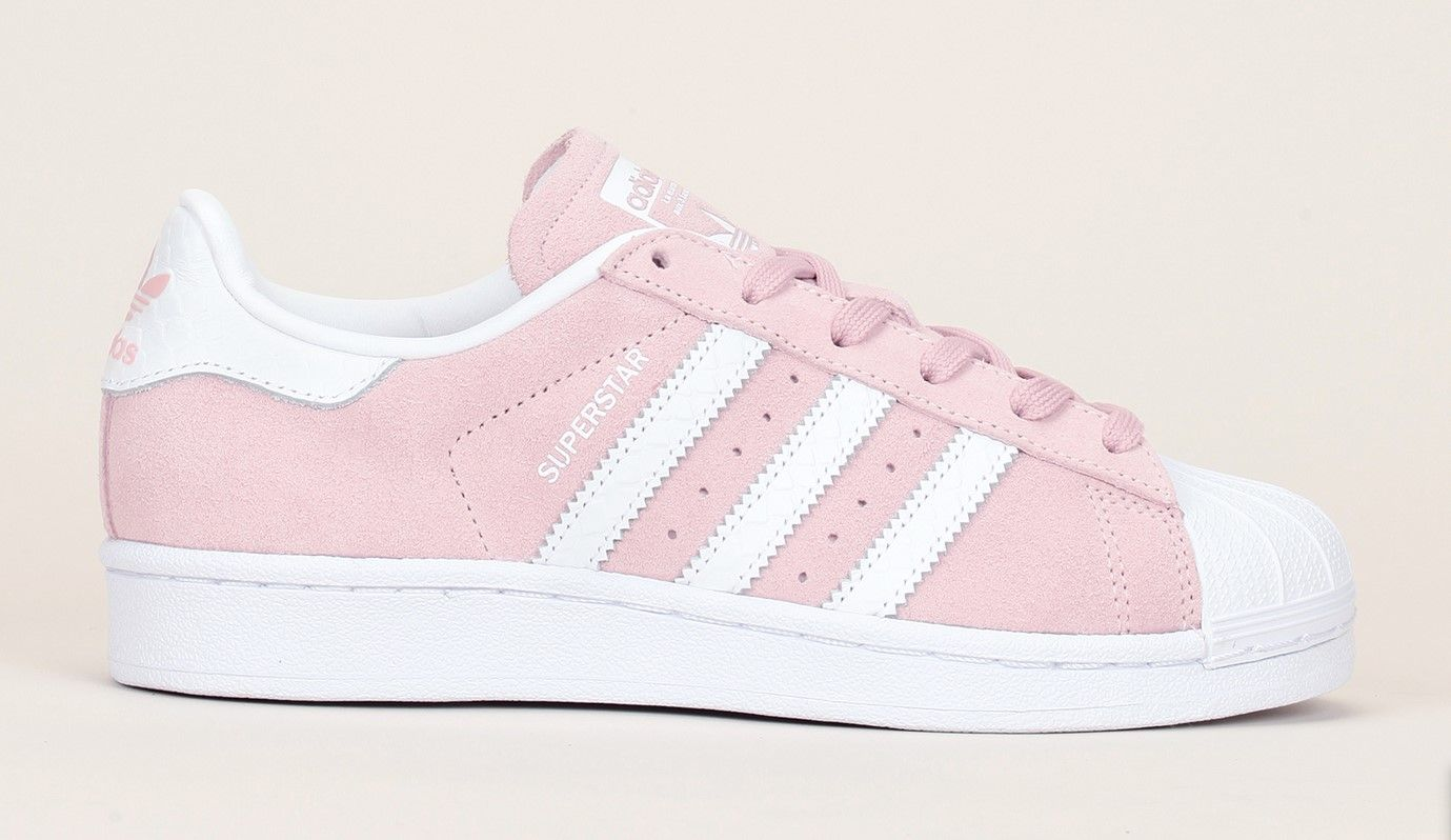 Sneakers cuir vieux rose talon reptile rayures blanches Superstar W Adidas Originals