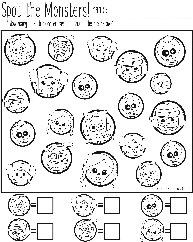 Spot the Monsters Counting Worksheet – For preschool, homeschool, or ...