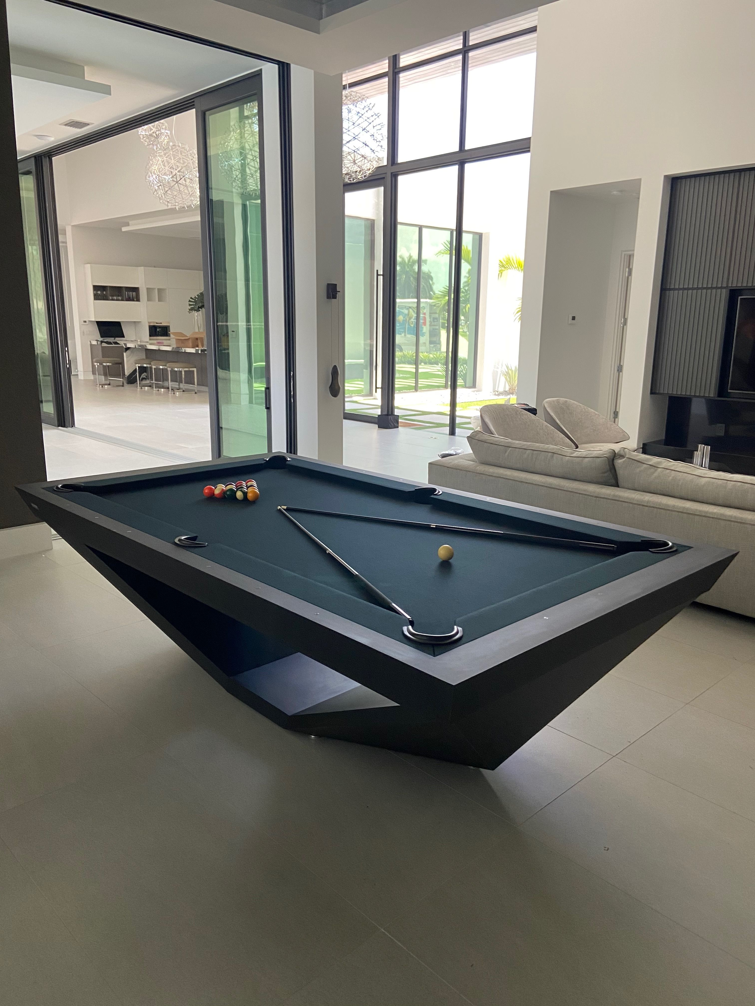 Drawing Influence From The Stealth Bomber Aircraft 11 Ravens Brings A Model That Is Precision Engineered And Uncompr In 2020 Modern Pool Table Modern Pools Pool Table