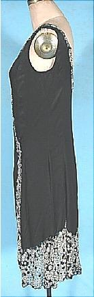c. 1926 Black Silk Charmeuse Wrap Flapper Dress with Bead Trim. Sideway