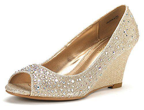 5d769d52c7a87 DREAM PAIRS CELESTE-S Women s Elegant Classic Open Toe Mid Heel Wedge Heel  Rhinestones Pumps
