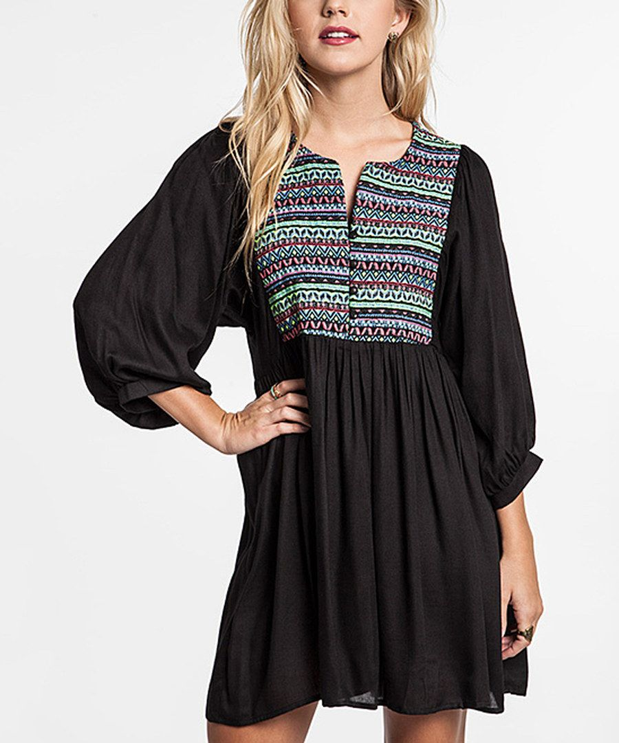 Look at this Black Neon Tribal Tunic on #zulily today!