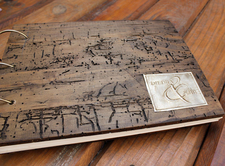 Personalized Wedding Album Made Of Rustic Wood With Embossed Aluminum Monogram In Antique Gold 13900