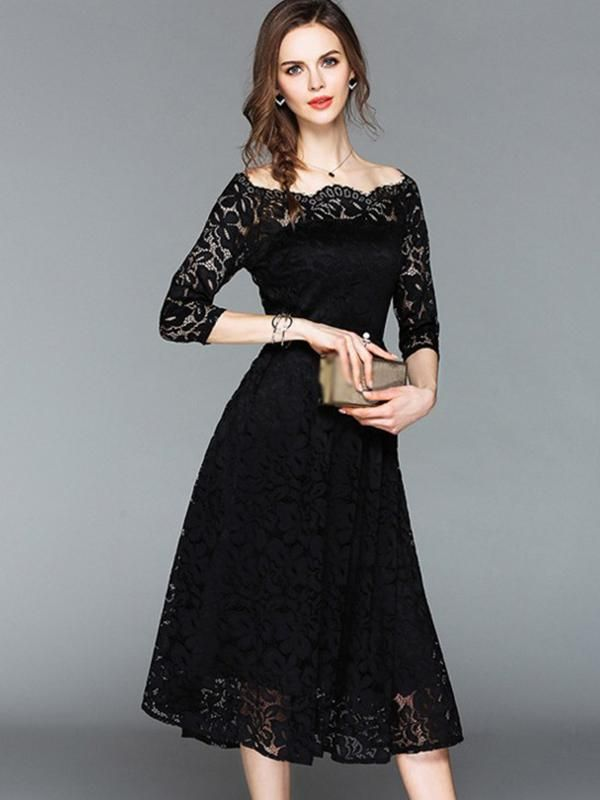 Pure Color Boat Neck 34 Sleeve Lace Skater Dress In 2019