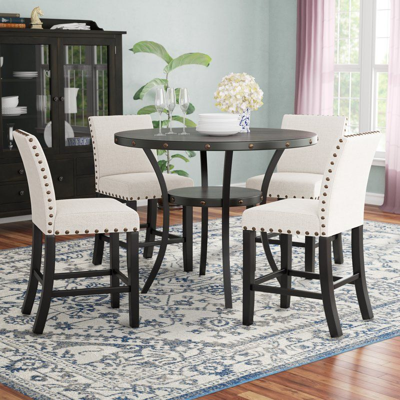 Maudie 5 Piece Counter Height Solid Wood Dining Set With Images