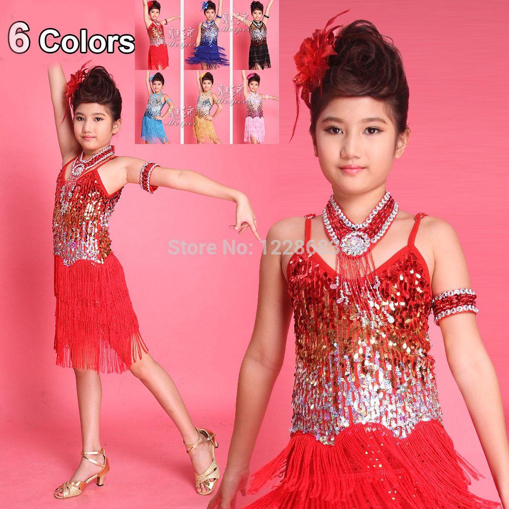Click to Buy << Discount Sequin Latin Dress Fringe De Baile Latino ...