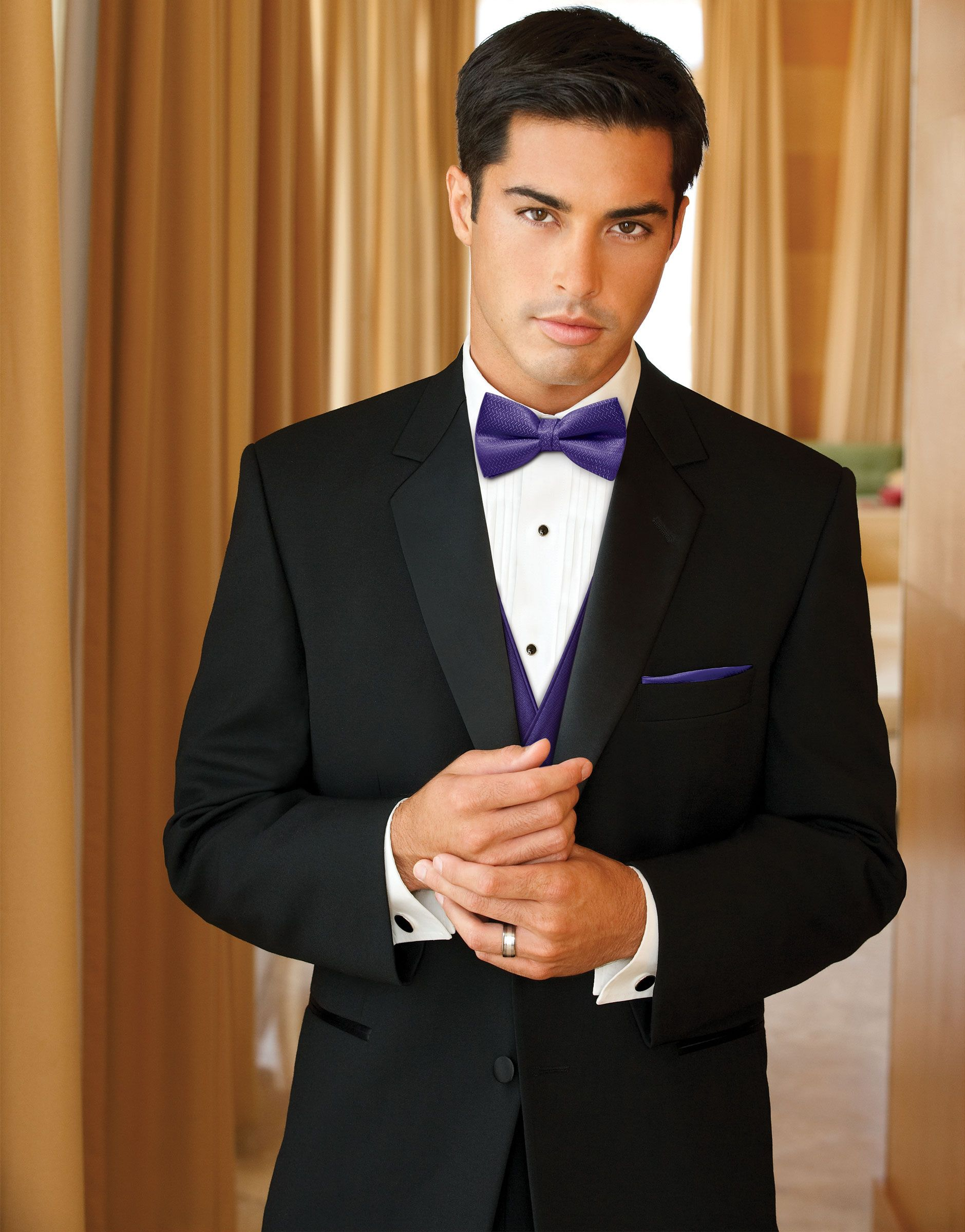 Groom Black Tie with purple shirt | ... by after six ...