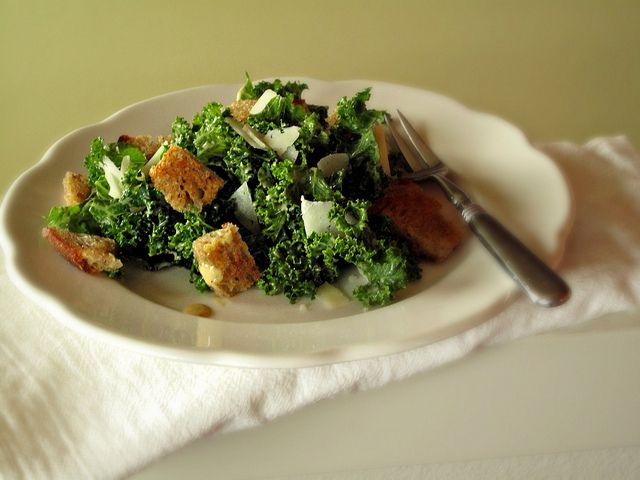 Kale Caesar with Rye Croutons.