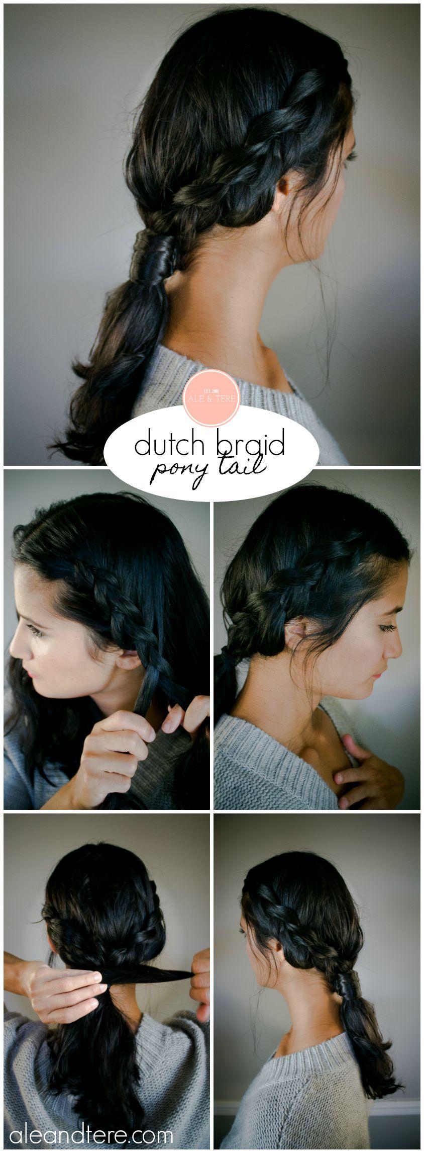 dutch braid ponytail hairstyles easy hairstyles mom hairstyles