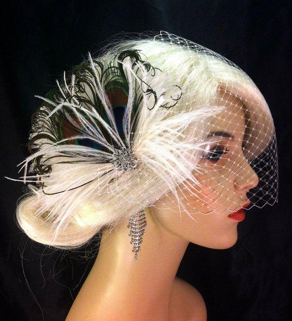 Bridal Headpiece Gatsby Headpiece Wedding Head Piece Wedding Veil Bridal Hair Clip 20s Fascinator Wedding Hair Clip 20s Headpiece