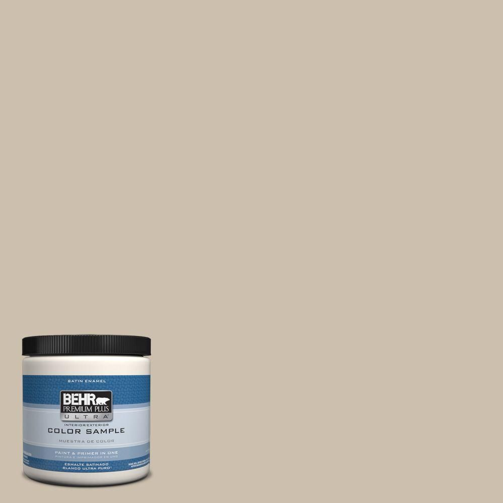 BEHR Premium Plus Ultra 8 oz. #hdc-AC-10 Bungalow Beige Interior/Exterior Satin Enamel Paint Sample
