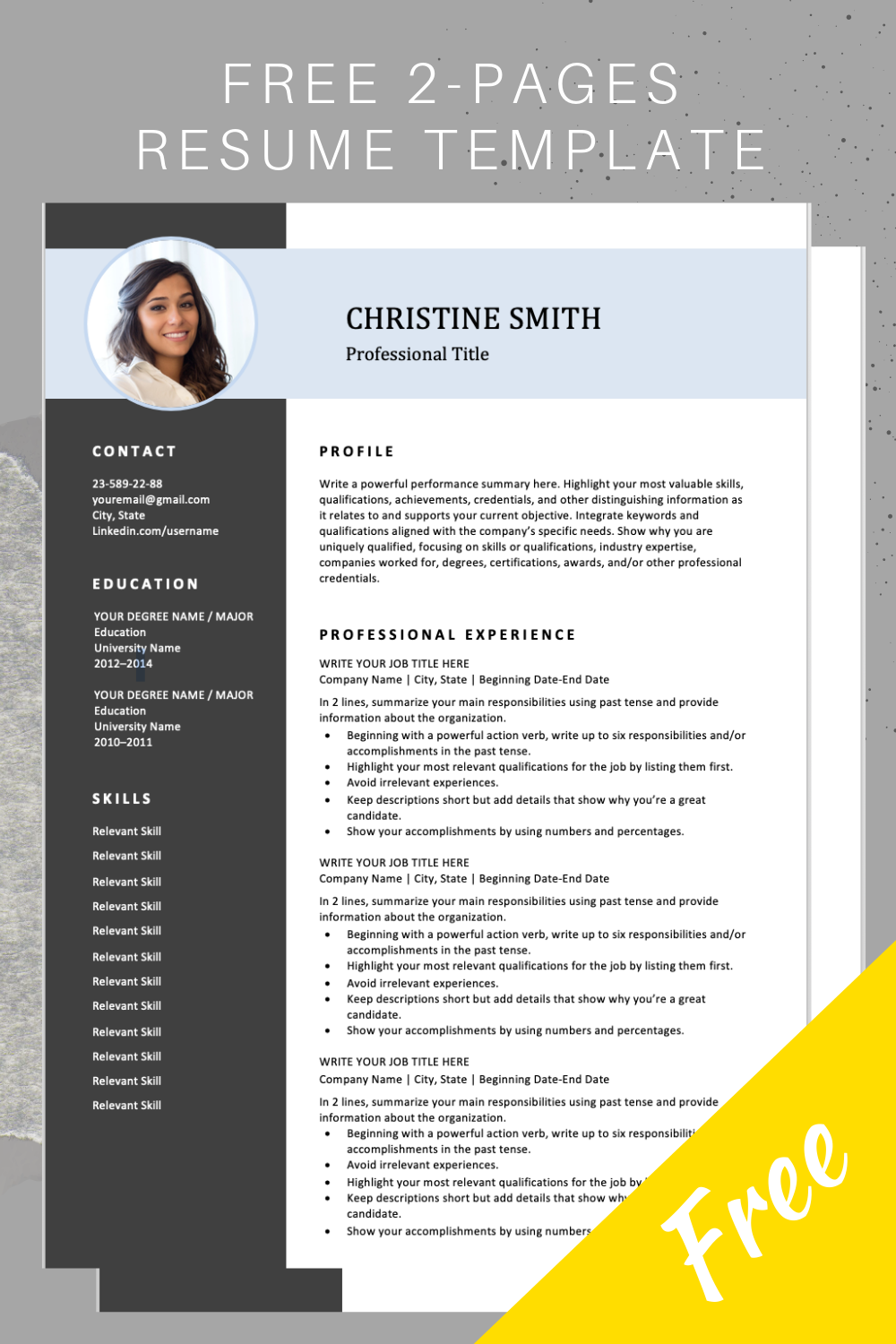 download this professional resume template  it includes