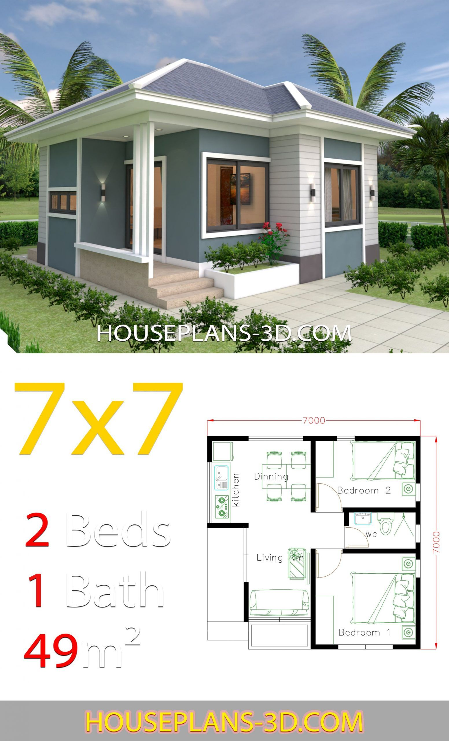 House Design 7 7 With 2 Bedrooms Full Plans In 2020 Small House Design Plans Small House Layout Small House Design