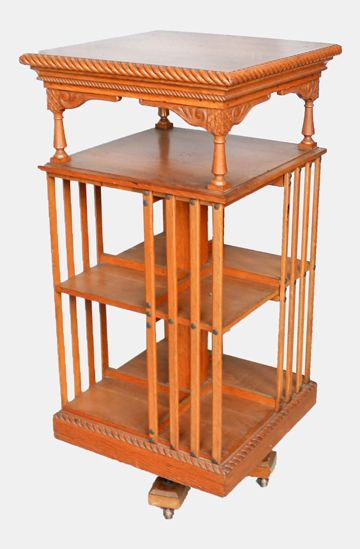 Antique Victorian Oak Revolving Bookcase Made By Danner