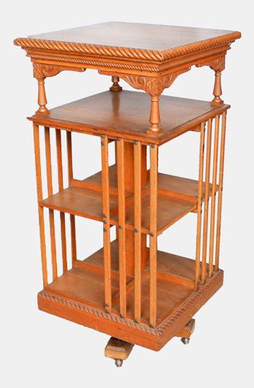 Edwardian Solid Oak Revolving Bookcase Bookshelves With