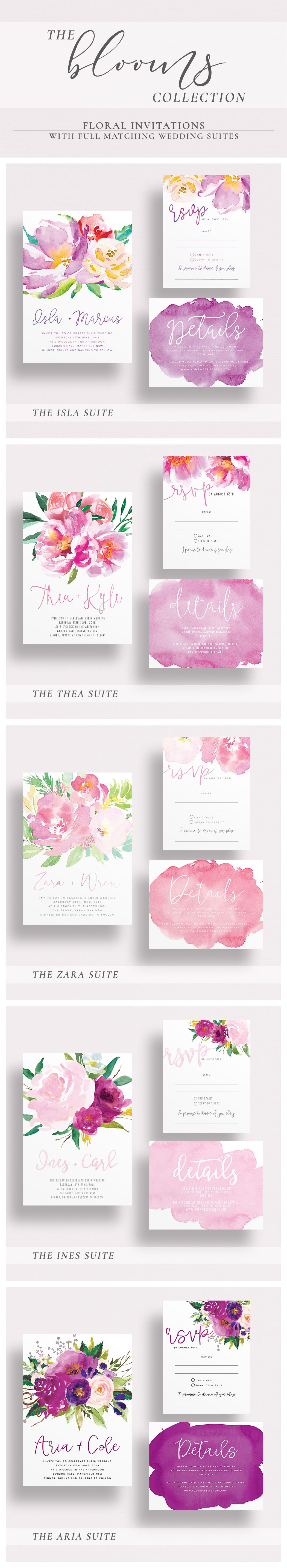 The blooms collection by paper minx designs printed wedding suites