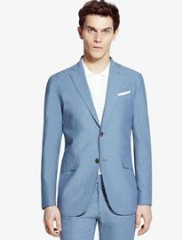 He By Mango Slim-fit Cotton Poplin Suit Blazer