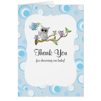 Blue baby owl baby shower thank you card baby gifts child new born blue baby owl baby shower thank you card baby gifts child new born gift idea negle Choice Image