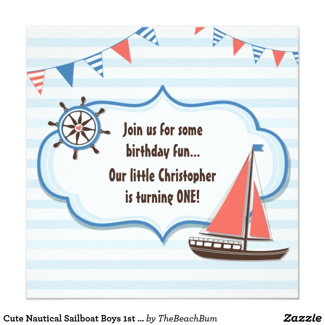 cute nautical sailboat boys 1st birthday invite cute and trendy