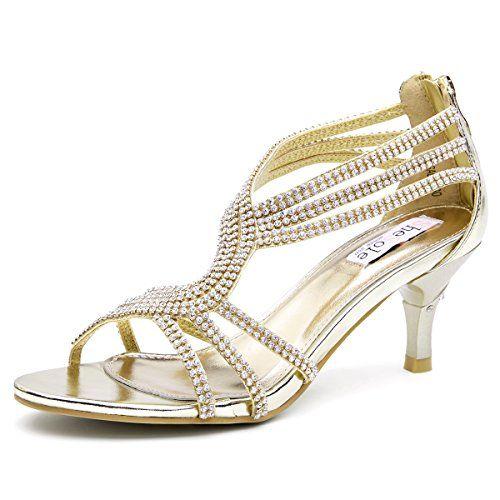 35 SHOEZY Womens Metallic Low Heels Rhinestones Evening Sandals
