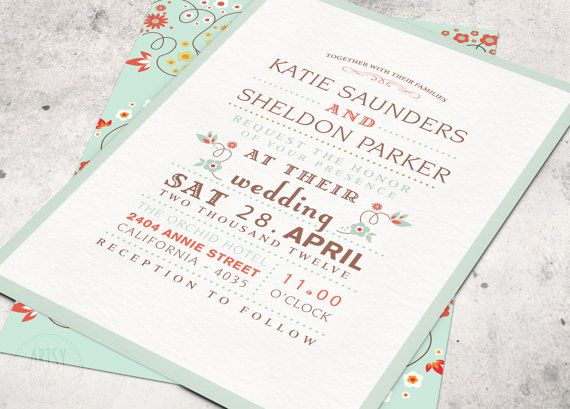 floral wedding invitations - printable designs - mint green pink, Wedding invitations