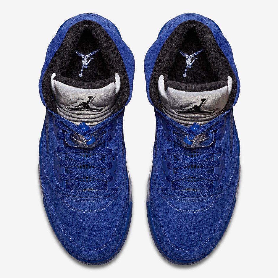 5a3f9876169120 Nike Air Jordan Retro 5 V Blue Suede Size 9.5-14 Game Royal Black ...