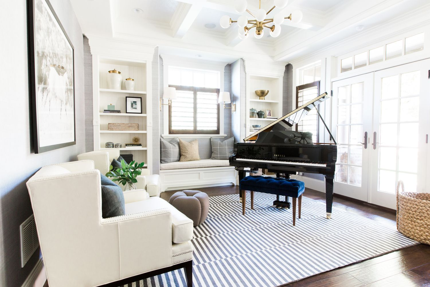 Piano Room With A Modern Traditional Mix Studio Mcgee Home Music Rooms Piano Room Design Grand Piano Room Living room ideas piano