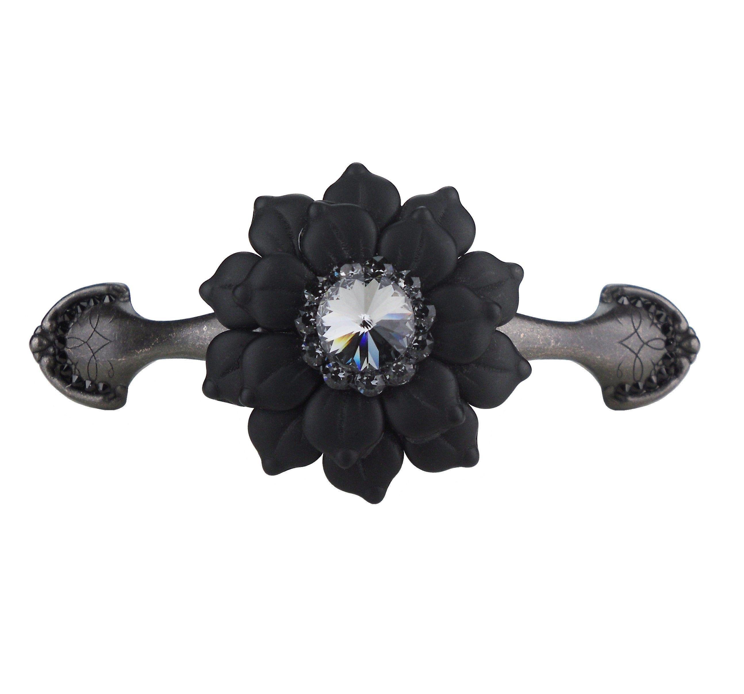 3 Inch Drawer Pull Swarovski Crystal Jet Black Glass 3 Etsy Art Deco Kitchen Art Deco Kitchen Cabinet Black Glass