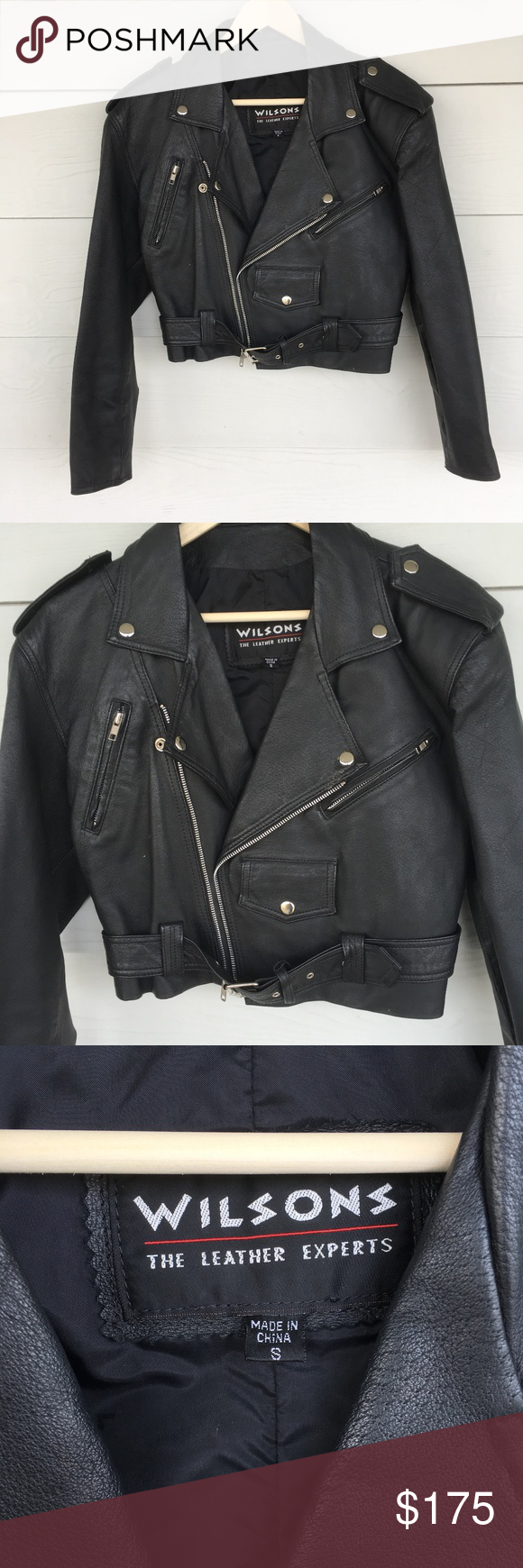 Black Wilson Leather Motorcycle Jacket Wilsons leather