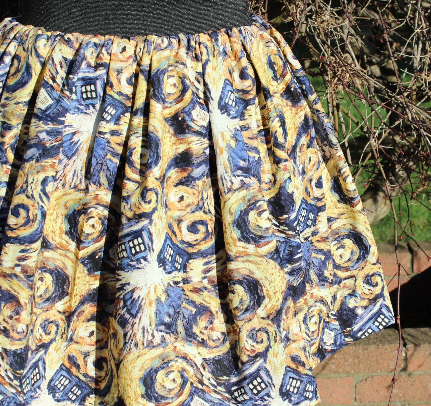 Elastic Waist Skirt Made From Tardis Van Gogh Fabric by NiceRiceShop on Etsy https://www.etsy.com/listing/225488950/elastic-waist-skirt-made-from-tardis-van