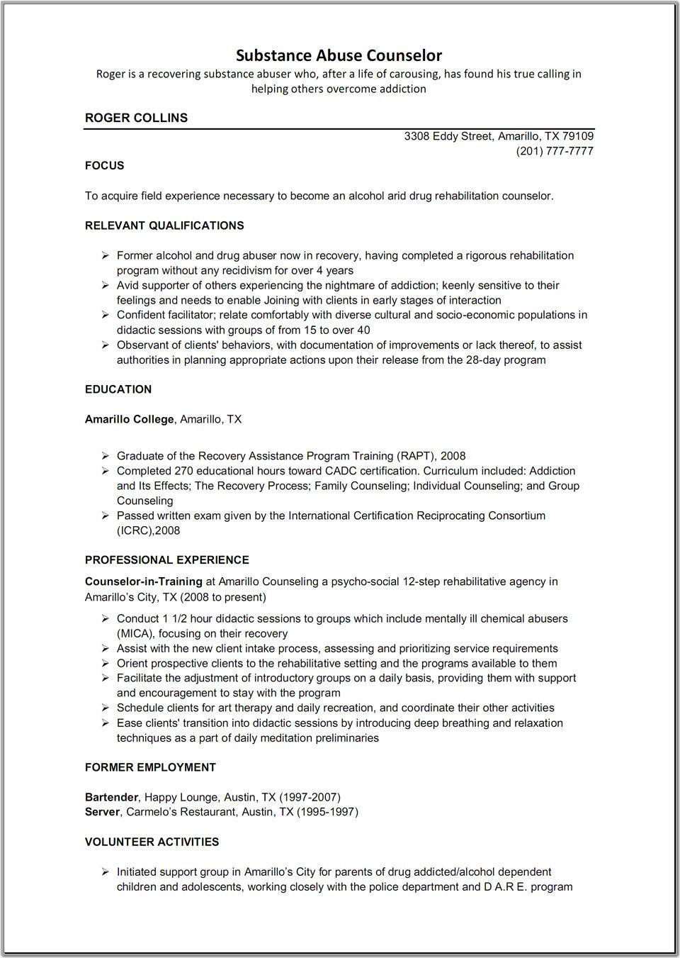 substance abuse counselor resume template - Counseling Resume Examples