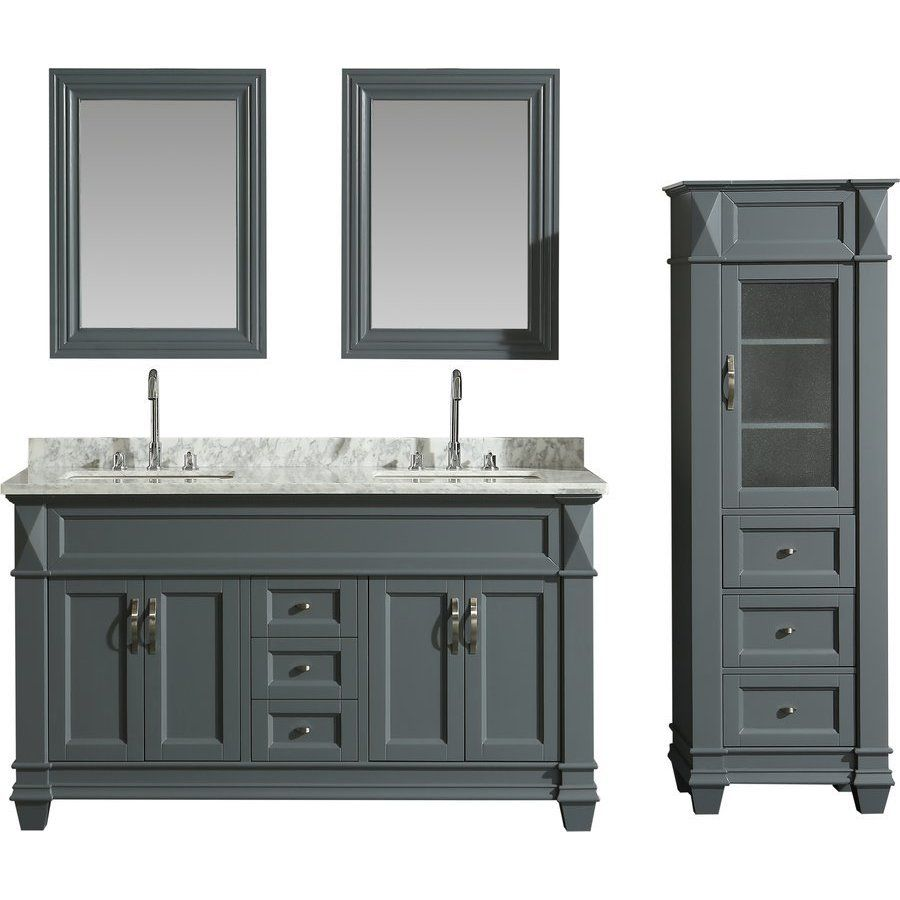 Design Element 60 Inch Hudson Double Sink Vanity Set With 65 Inch