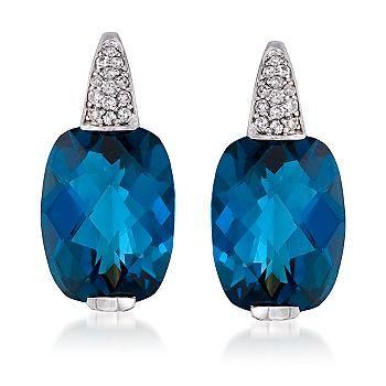 Electrifying London Blue Topaz And Diamond Earrings In 14kt White Gold