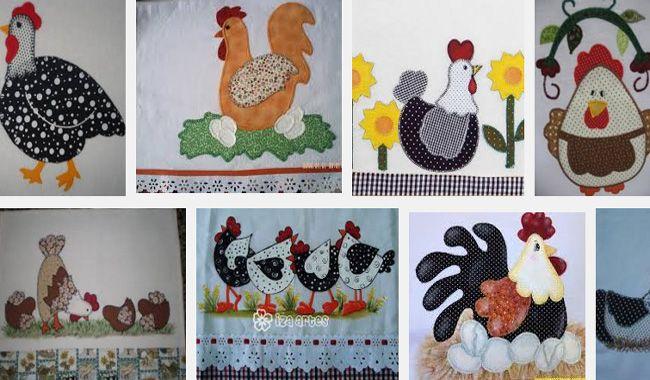 50 Idéias de Pano de Prato em Patchwork no Tema Galinha que você irá se apaixonar! São bem fáceis de fazer e irá embelezar sua cozinja :)