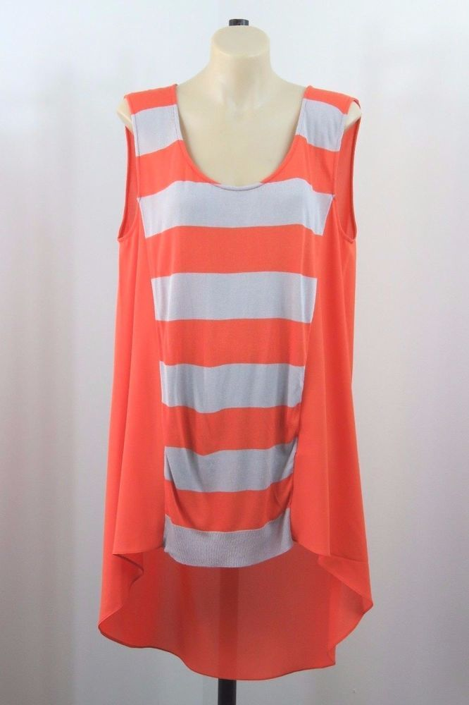 cd33ce2d75af50 Size L 14 Chelsea Ladies Orange Top Tunic Stripe Feminine Business Casual  Design
