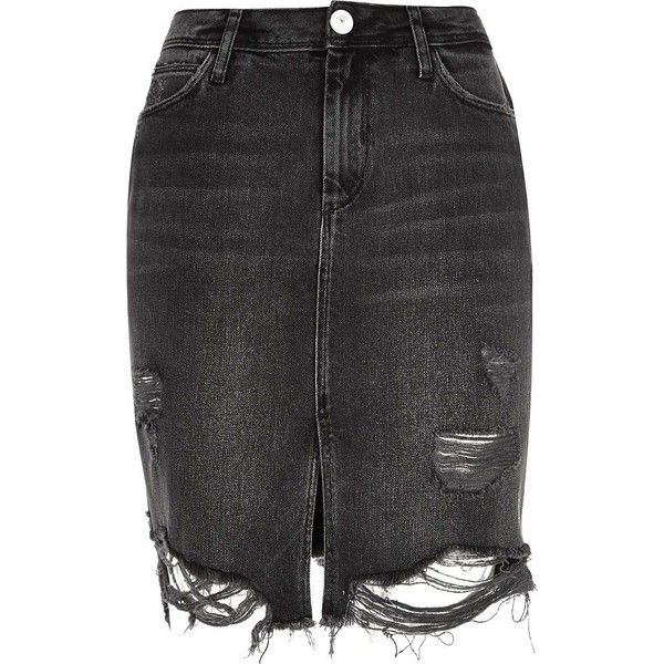River Island Black washed ripped denim midi skirt (65 CAD ...