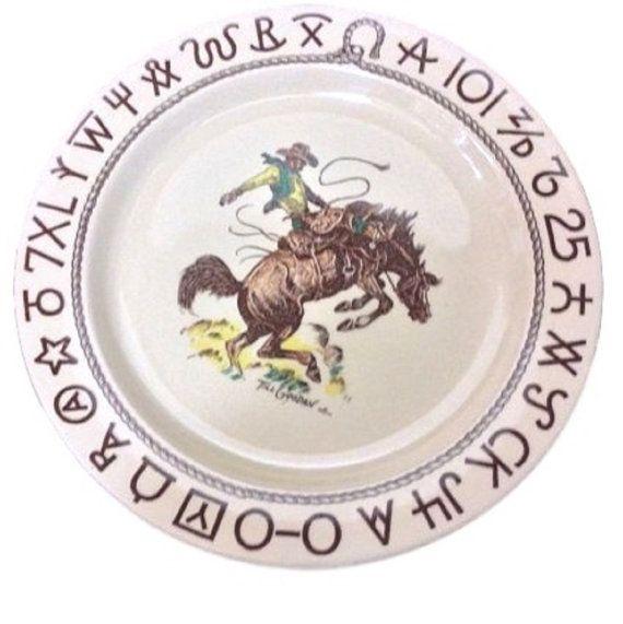 Wallace China Westward Ho Cowboy Dinnerware Plate Restaurant Plate Casual Dinnerware  sc 1 st  Pinterest & Rustic Dinnerware Wallace China Westward Ho Cowboy Dinnerware ...