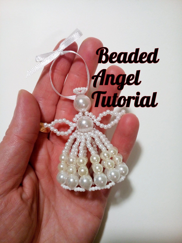 Beaded Angel Tutorial Standing Angel Ornament Beading Pattern How To Make Beaded Angel Beaded Ornament Pattern Homemade Gift Beaded Ornaments Diy Beaded Angels Beaded Flowers Patterns