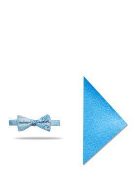 Madison 2-Piece Lindell Pine Bow Tie And Pocket Square Set - Aqua