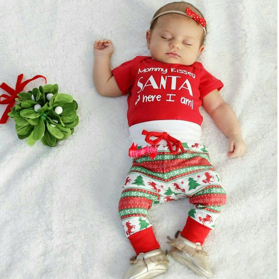 c40a36661c4c6 Funny Mommy Kissed Santa and Here I Am Baby Boy or Girl Christmas Outfit Newborn  Infant