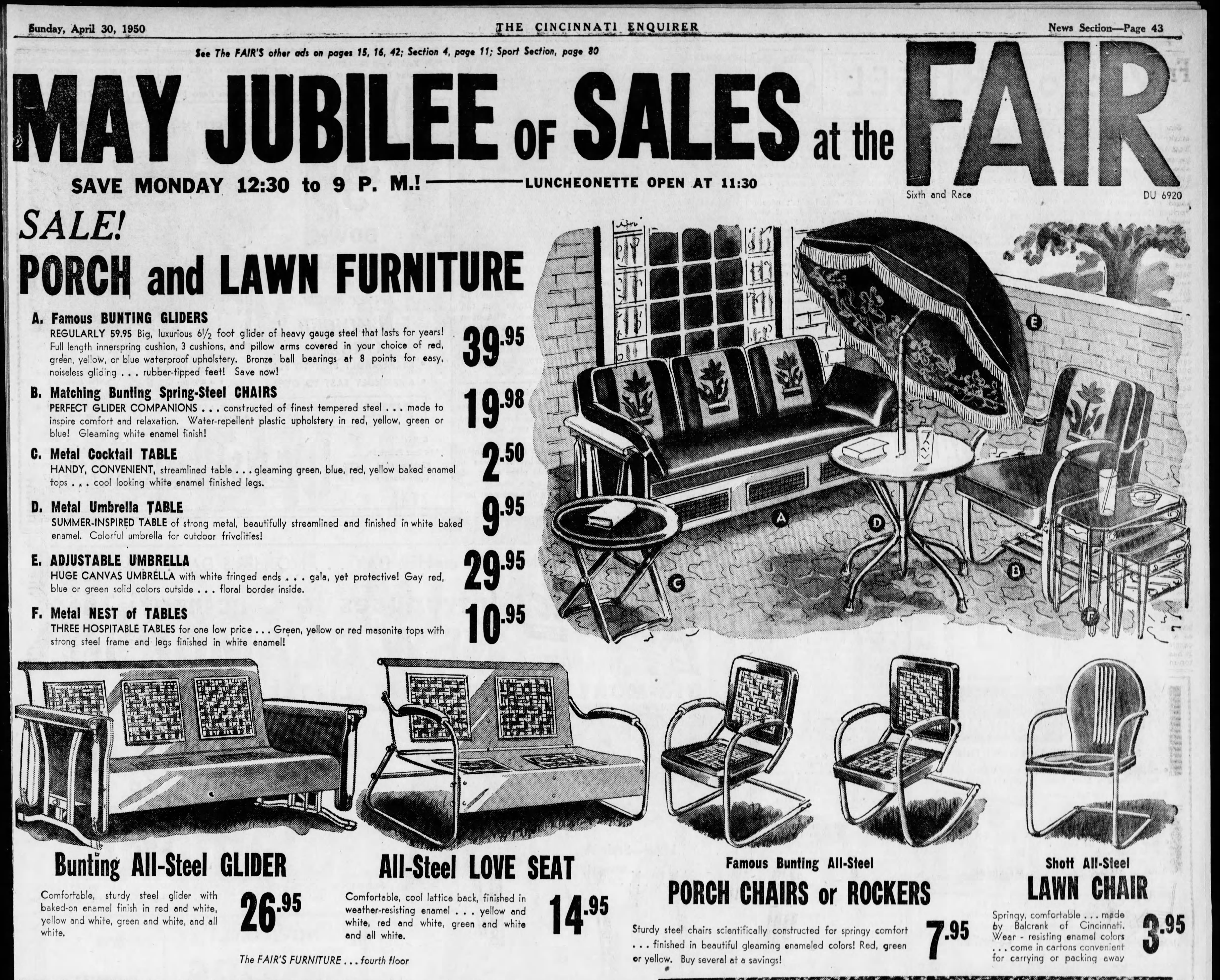 Bunting Metal Porch Glider Newspaper Advertisement From April 30 1950