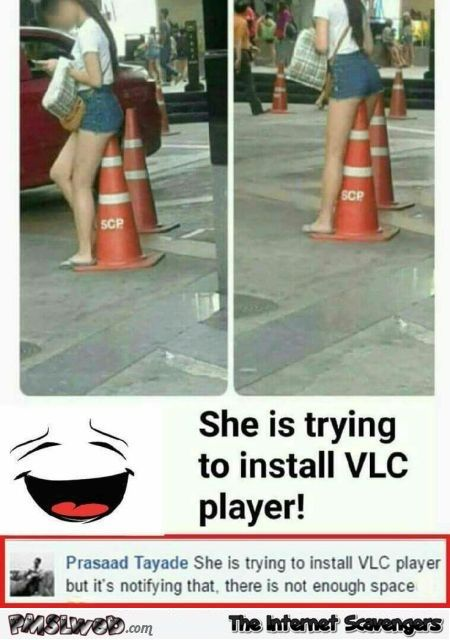 She Is Trying To Install Vlc Player Funny Meme Funny Gaming