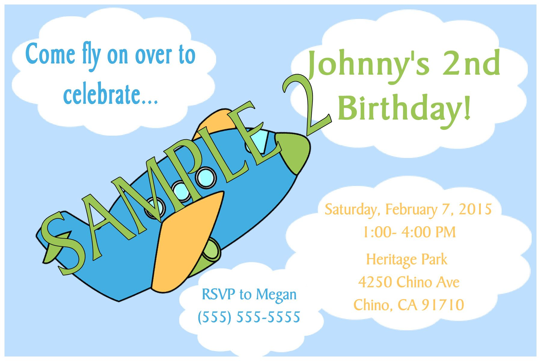 Airplane Birthday Invitation- Click on the image twice to place orders or follow me on facebook. or email me at the address in BIO.
