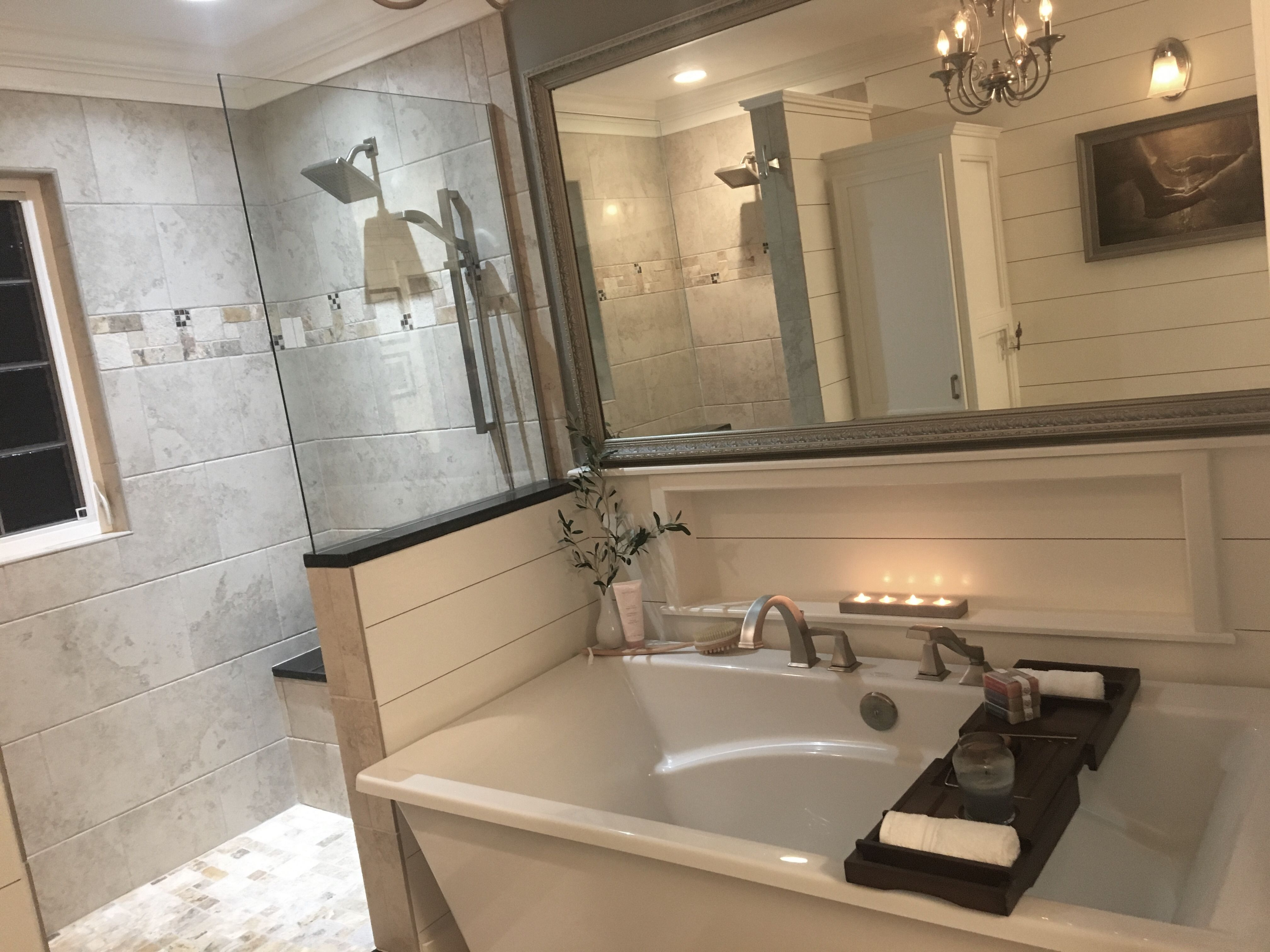 Stand alone tub, doorless shower, and Shiplap   Bathroom and Closet ...