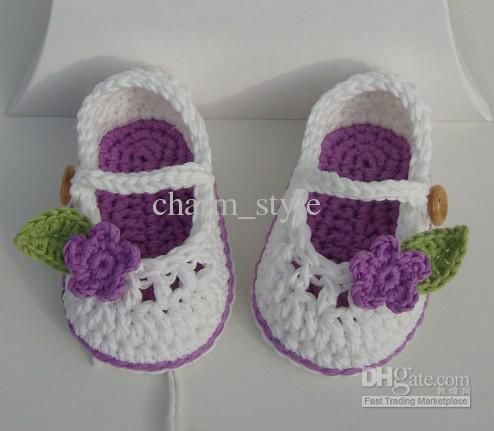 Wholesale Crochet Baby booties for little girl ivory and blue with ...
