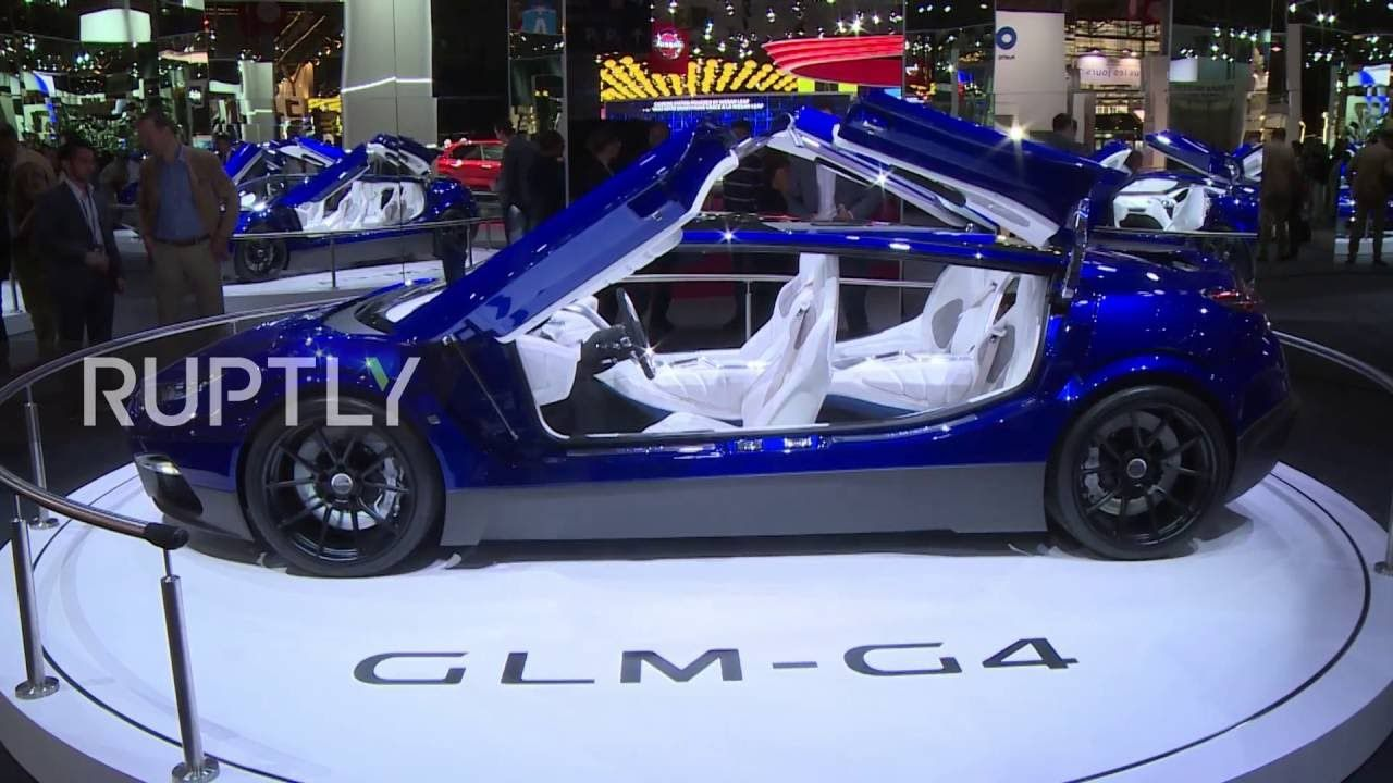 Japanese electric car startup, Green Lord Motors (GLM), unveiled its new electric GLM G4 supercar at the 2016 Paris Motor Show at the Porte de Versailles ...