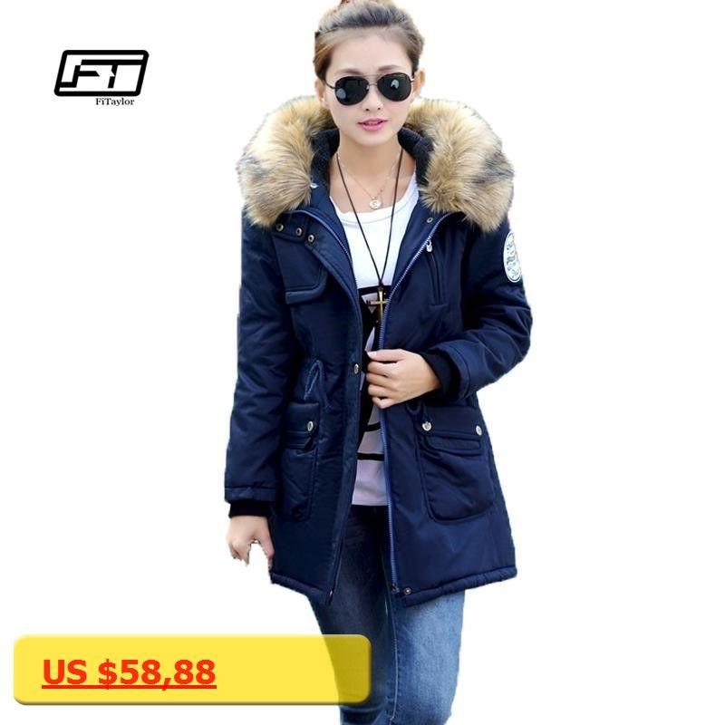 a0cb6b69fc1 new 2017 women winter coat wadded jacket medium-long plus size Parka fur  collar thickening hood abrigos female snow wear